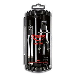 MAPED Coffret 5 pièces : 1 Compas 13 cm + 1 Compas Ballustre 105 mm + 1 allonge 14 cm + étui-mine + bague