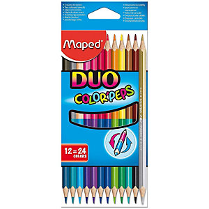 Maped Color'Peps Duo Lápices de colores, cuerpo triangular, colores de minas variados