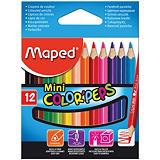 Maped Color Peps Mini Lápices de colores, cuerpo triangular, colores de minas surtidos