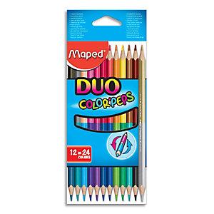 MAPED Pochette 12 crayons de couleurs COLOR'PEPS DUO. 1 crayon = 2 couleurs. Coloris assortis