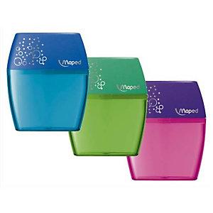 MAPED Taille crayons Shaker 2 trous - coloris vert, bleu, rose