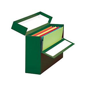 MARIOLA Caja Transferencia Cartón A4, Forrada en papel tela, Tapa fija, Verde, 255 x 110 x 350 mm