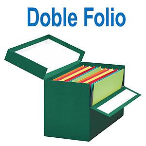 MARIOLA Caja Transferencia Cartón Doble Folio, Forrada en papel tela, Tapa fija, Verde, 255 x 200 x 393 mm