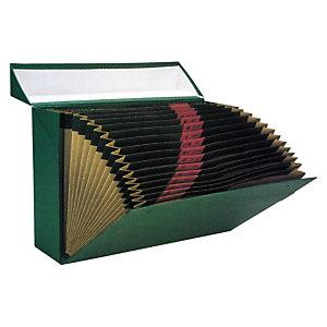 MARIOLA Caja Transferencia Cartón Folio, Con fuelle 16 departamentos, Tapa fija, Verde, 255 x 100 x 380 mm