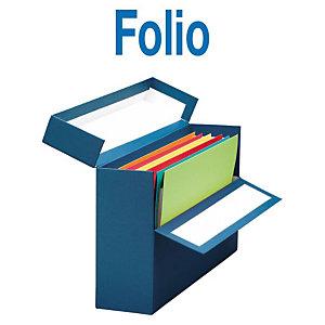 MARIOLA Caja Transferencia Cartón Folio, Forrada en papel tela, Tapa fija, Azul, 255 x 110 x 393 mm