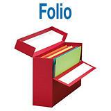 MARIOLA Caja Transferencia Cartón Folio, Forrada en papel tela, Tapa fija, Rojo, 255 x 110 x 393 mm