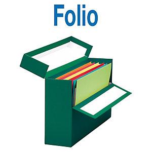 MARIOLA Caja Transferencia Cartón Folio, Forrada en papel tela, Tapa fija, Verde, 255 x 110 x 393 mm