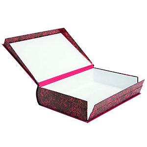 MARIOLA Caja Transferencia Cartón Folio, Tapa fija, Rojo Jaspeado, 360 mm x 250 mm x 90 mm