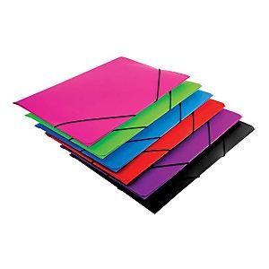 MARIOLA Carpeta de gomas, Folio, 3 solapas, polipropileno, colores surtidos
