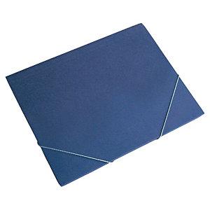 MARIOLA Clásica Carpeta de gomas, Folio, 3 solapas, lomo 10 mm, cartón, azul