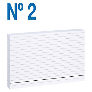 MARIOLA Fichas Nº 2 Cartulina, Rayado horizontal, Blanco, 75 x 125 mm