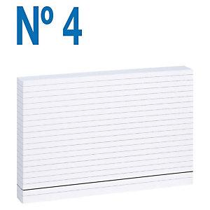 MARIOLA Fichas Nº 4 Cartulina, Rayado horizontal, Blanco, 125 x 200 mm