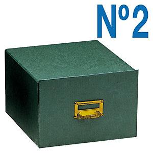 MARIOLA Fichero Cartón Nº 2, Tirador metálico, Tapa fija, Verde, 100 x 155 x 350 mm