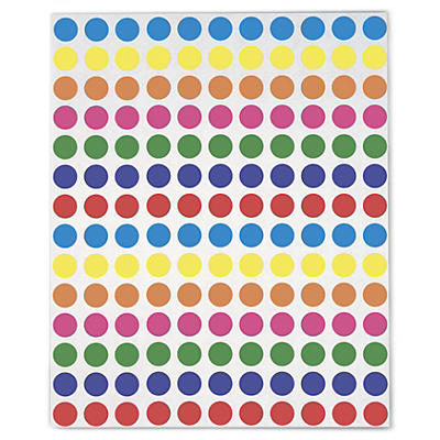 Pastille de couleurs assorties adhésif permanent en planche A5##Markierungspunkte farbig sortiert