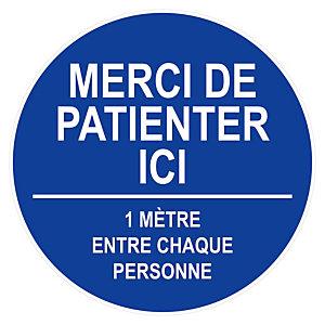 """Marque adhésif sol """"Merci de patienter"""", diametre 45 cm, coloris bleu"""