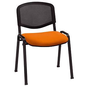 Marque generique 4 Chaises de réunion & visiteur First - Maille filet - Abricot - Pieds noir