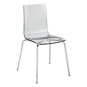 Marque generique 4 Chaises visiteur Kent design - Polycarbonate - Transparent - Pieds métal chromé