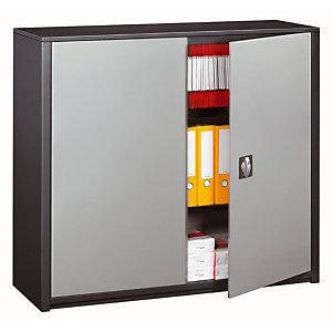Marque generique Armoire métal Classtout - A portes battantes - H. 100  x  L. 120 cm - Corps Anthracite - Portes Aluminium