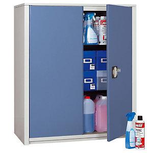 Marque generique Armoire métal Classtout - A portes battantes - H. 100  x  L. 90 cm - Corps Gris - Portes Bleu