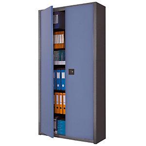 Marque generique Armoire métal Classtout - A portes battantes - H. 198  x  L. 90 cm - Corps Anthracite - Portes Bleu