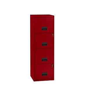 Marque generique Classeur Pratic Vintage - Métal 4 tiroirs, Ht 126 cm- Rouge vernis