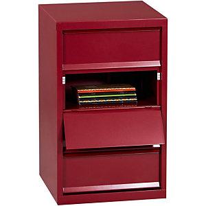 Marque generique Meuble à clapets métal 4 cases - Rouge rubis