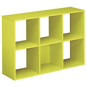 Marque generique Module bibliothèque Multicases Color -  6 cases - Vert