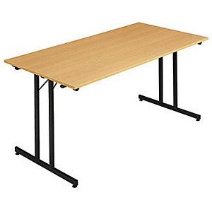 Marque generique Table pliante multiples usages Rectangle - L. 160 x P. 80 cm - Plateau Hêtre - pieds Noir