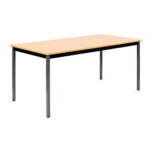 Marque generique Table Polyvalente Rectangle - L. 160 x P. 80 cm - Plateau Hêtre - pieds Gris