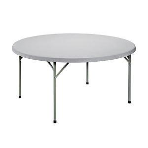 Marque generique Table ronde pliante diamètre 150 cm  Polyéthylène - Plateau gris