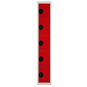 Marque generique Vestiaire Team Color - 5 casiers - 1 colonne - Corps Gris - Portes Rouge