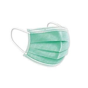 Mascarillas Quirúrgicas Desechables, con goma, Triple Capa, Tipo IIR, color verde, pack 50 unidades