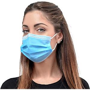 Mascherina chirurgica monouso a tre strati in TNT, Prodotta in Italia, Dispositivo medico Tipo II, Azzurro/Bianco (confezione 60 pezzi)