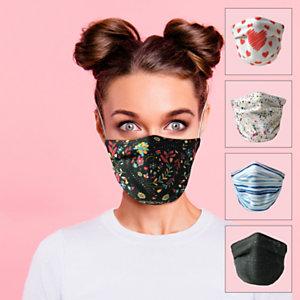 Mascherina facciale in tessuto lavabile, con elastici, Fantasie assortite (confezione 5 pezzi)