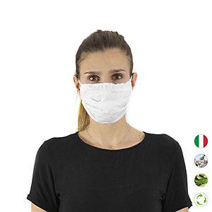 Mascherina facciale in tessuto lavabile, con elastici, idrorepellente, Bianco
