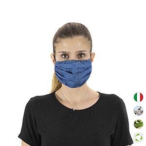 Mascherina facciale in tessuto lavabile, con elastici, idrorepellente, Blu denim