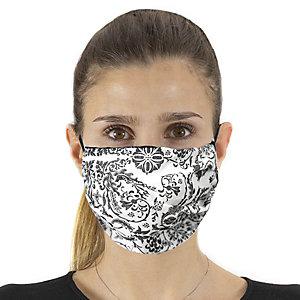 Mascherina facciale in tessuto lavabile, con elastici, idrorepellente, fantasia floreale bianco/nero