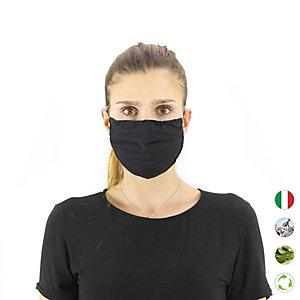 Mascherina facciale in tessuto lavabile, con elastici, idrorepellente, Nero