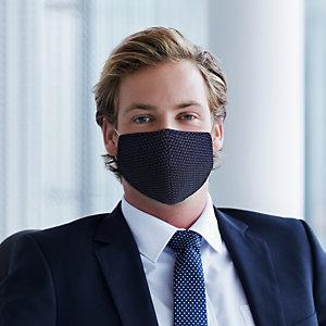 Mascherina facciale in tessuto lavabile con elastici, Per adulti, Microdisegno blu/bianco