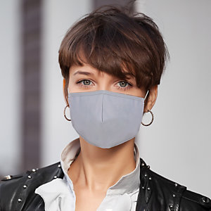 Mascherina facciale in tessuto lavabile con elastici, Per adulti, Tinta unita grigio/bianco