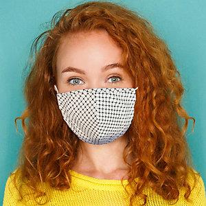 Mascherina facciale in tessuto lavabile con elastici, Per bambini 10/14 anni, Fantasia Intreccio bianco e blu/bianco