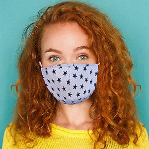 Mascherina facciale in tessuto lavabile con elastici, Per bambini 10/14 anni, Fantasia Stellina/bianco