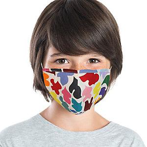 Mascherina facciale in tessuto lavabile con elastici, Per bambini 6/10 anni, Fantasia Coriandoli/bianco