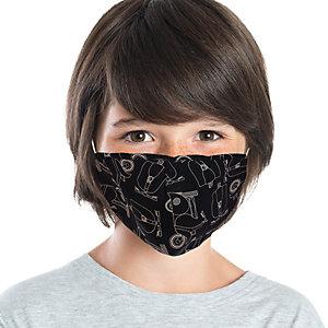 Mascherina facciale in tessuto lavabile con elastici, Per bambini 6/10 anni, Fantasia Vespa/bianco