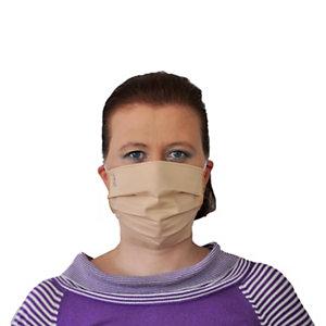"""Mascherina facciale tecnica """"Vespucci"""" in tessuto lavabile, con elastici, Beige"""