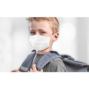 Mascherine mediche monouso MM-007, per bambini 6-12 anni, Dispositivo medico classe II (Confezione da 5 buste da 10 mascherine)