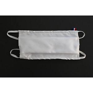 Masque de protection lavable 50 fois en tissu blanc - Taille adulte