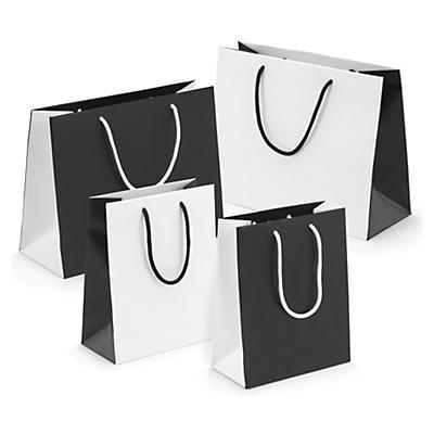Sac pelliculé effet mat blanc/noir##Matfluwelen draagtas zwart/wit