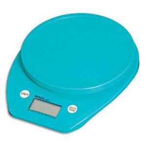 MAUL Pèse-lettre MAULgoal Bleu à piles plastique portée 5 kg - Plateau D15 cm, L16 x H3 x P20 cm