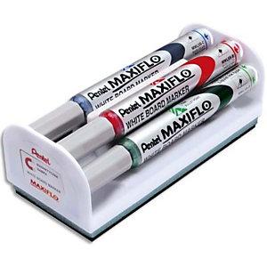 MAXIFLO PENTEL Kit brosse magnétique équipée de 4 marqueurs pour tableau Blanc assortis pointe conique moyenne